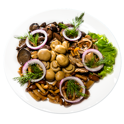 Салаты с жареными грибамиы